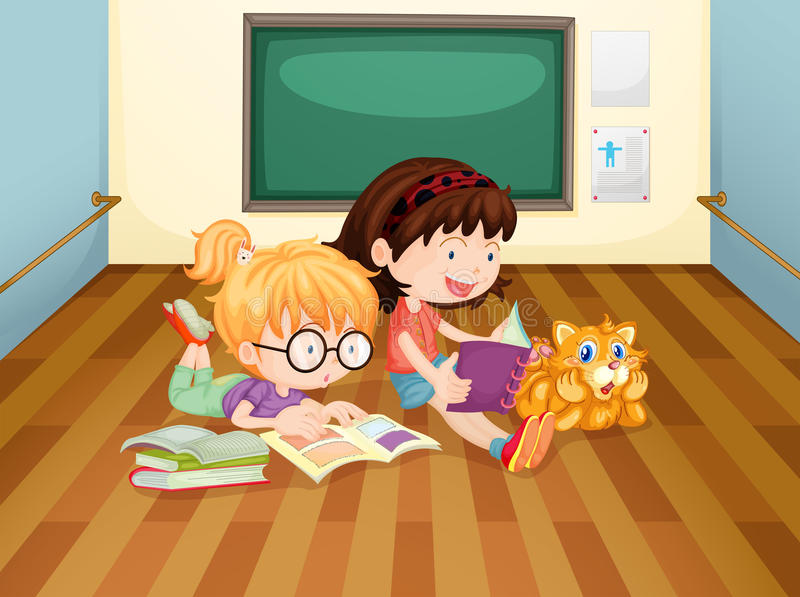 Dwa dziewczyny czytelniczej książki wśrodku pokoju ilustracji