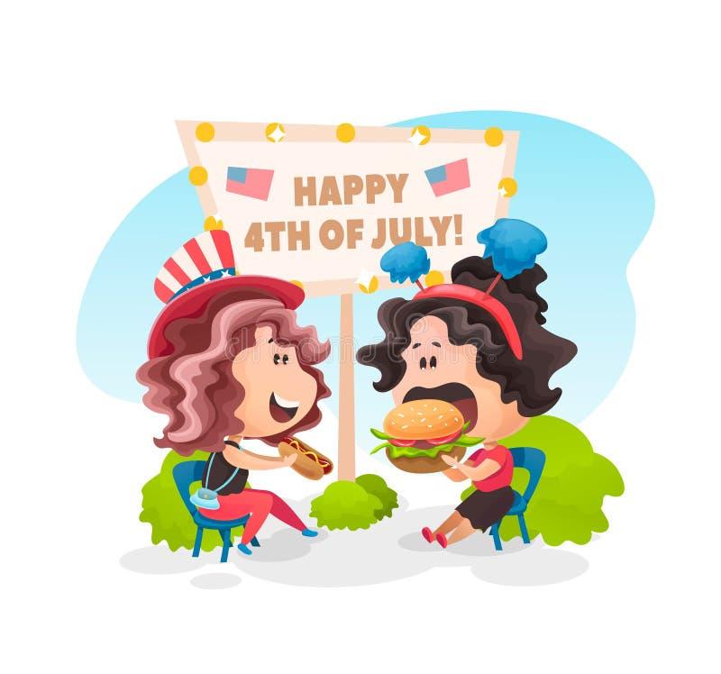 Dwa dziewczyny je hamburger i hot dog wpólnie ilustracja wektor