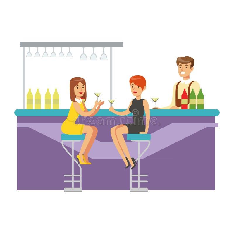 Dwa dziewczyny Pije koktajle Przy barem, część ludzie Przy noc klubu seriami Wektorowe ilustracje ilustracji