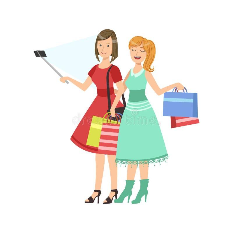 Dwa dziewczyny Robi zakupy Brać obrazek Z Selfie kija ilustracją royalty ilustracja