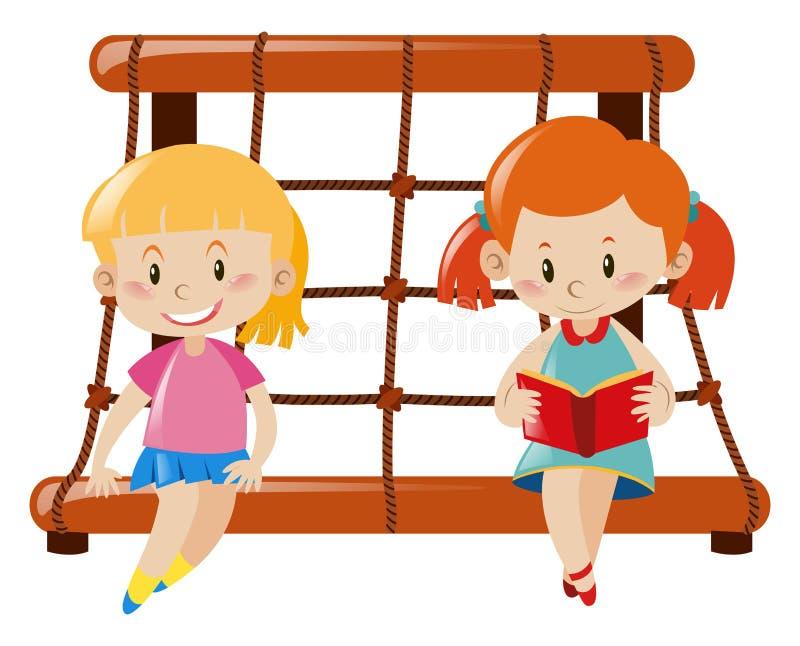 Dwa dziewczyny siedzi na linowej pięcie staci ilustracji