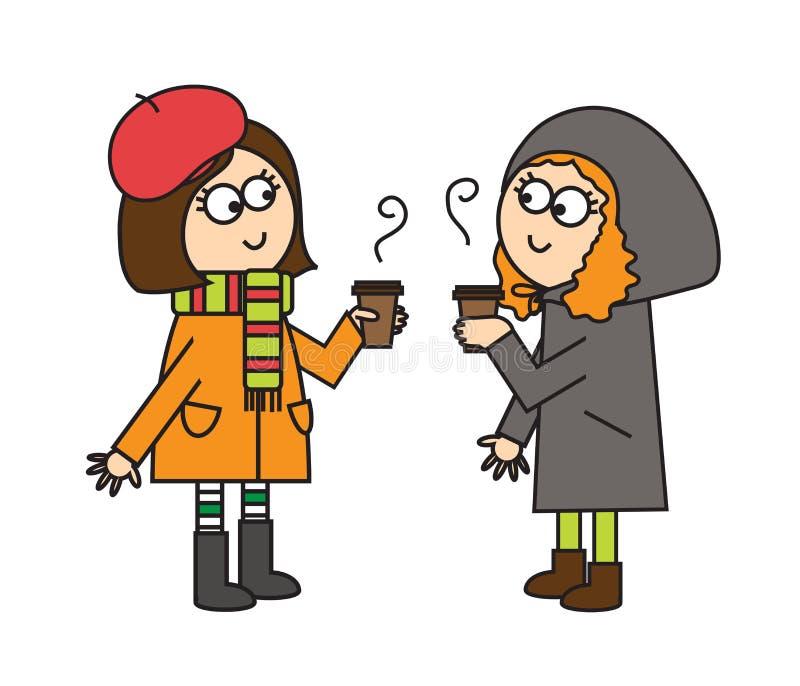 Dwa dziewczyny spotykająca i napój gorącej kawa wektor ilustracji