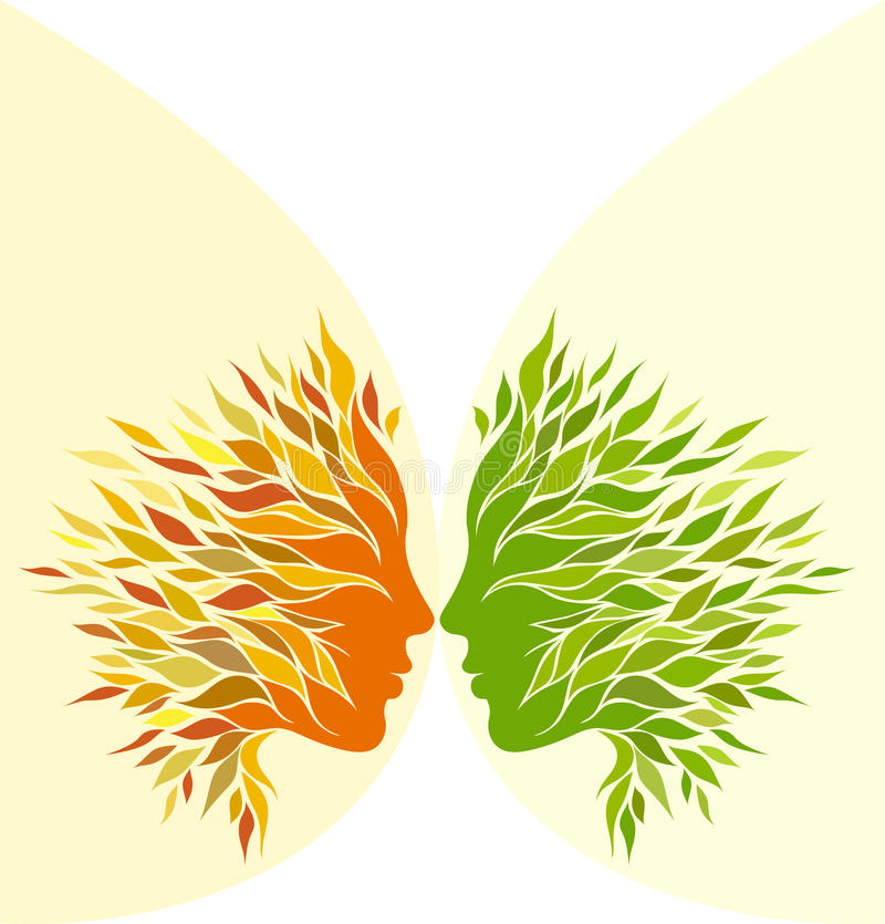 Dwa dziewczyny stylizujący profil ilustracja wektor
