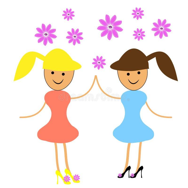 Dwa dziewczyny tanczy z kwiatami royalty ilustracja