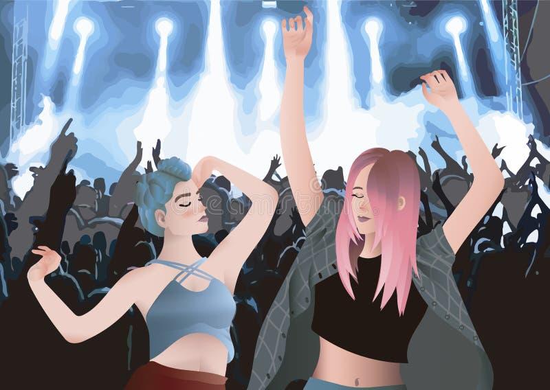 Dwa dziewczyny w noc koncercie na festiwalu cieszy się i tanczy ilustracji