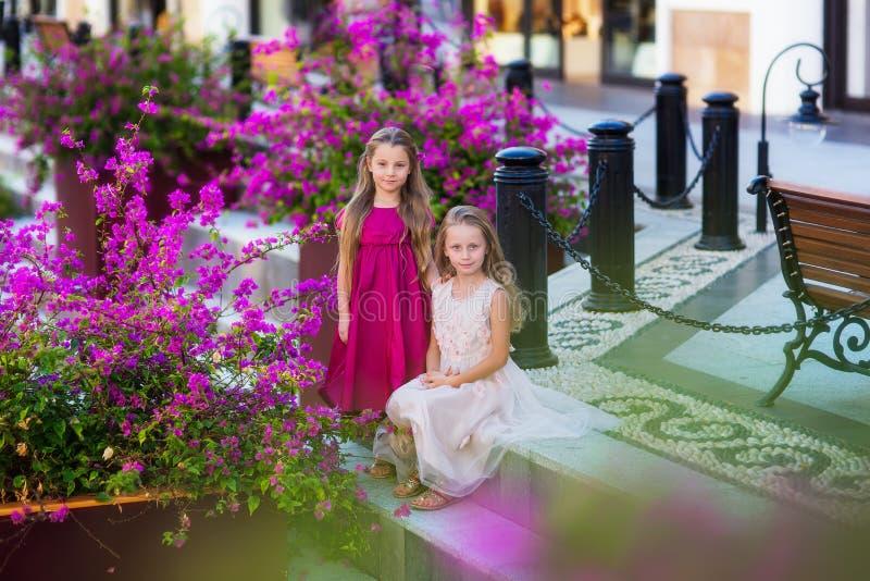 Dwa dziewczyny w pięknych sukniach pozuje przeciw tłu kwiatonośni drzewa zdjęcie royalty free