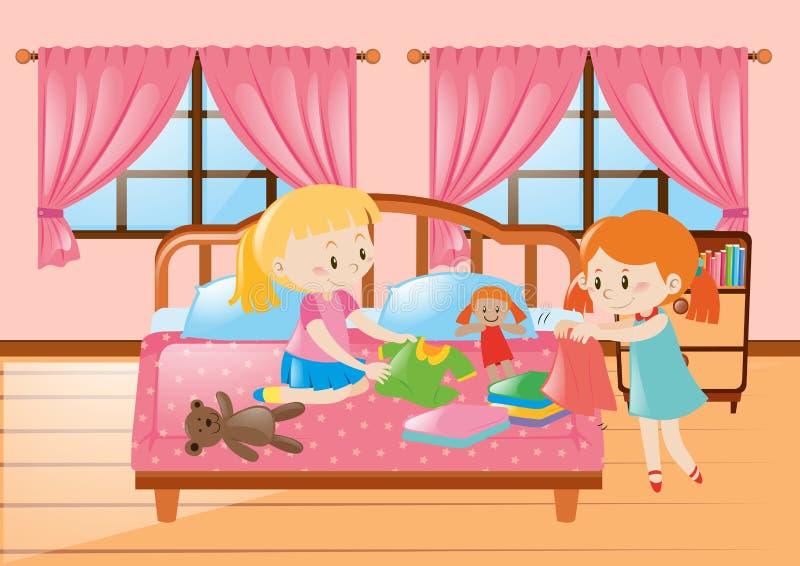 Dwa dziewczyny w sypialni royalty ilustracja