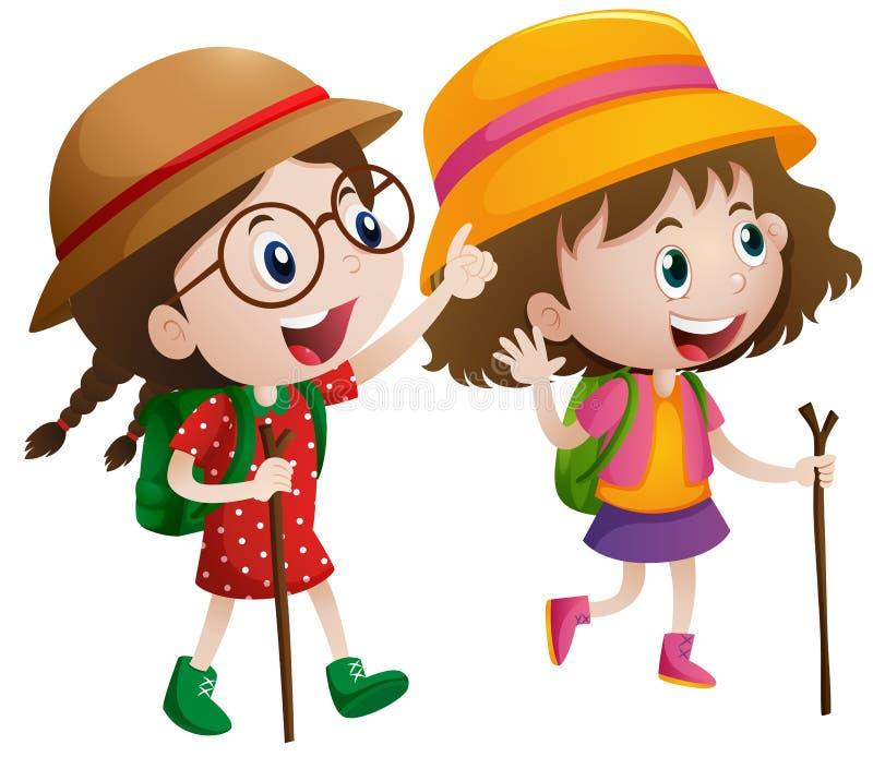 Dwa dziewczyny z kijem i plecakiem iść wycieczkować royalty ilustracja