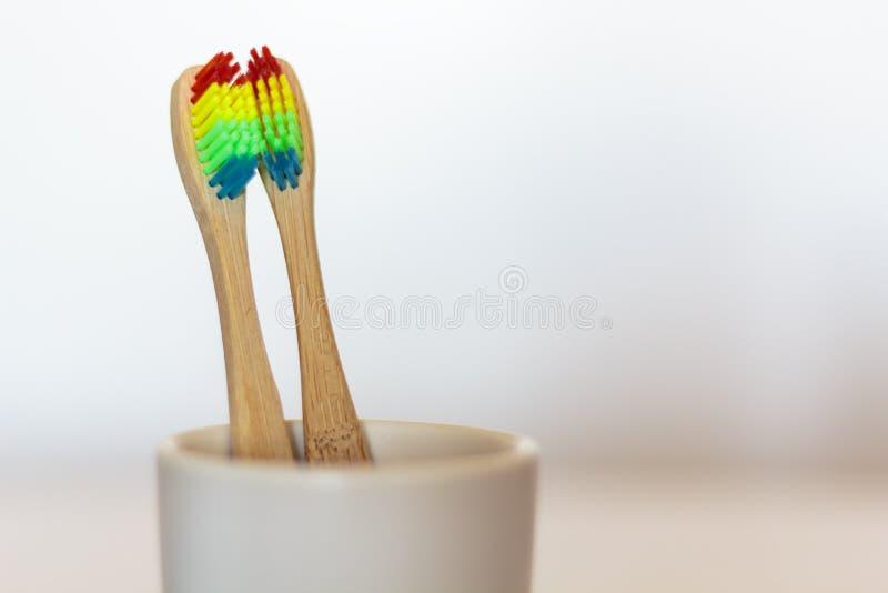Dwa ekologicznego Bambusowego toothbrushes z lgbt tęczy kolorami zdjęcia stock