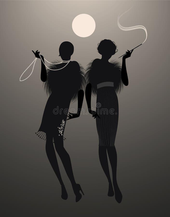 Dwa eleganckiej podlotek dziewczyny sylwetki ilustracja wektor
