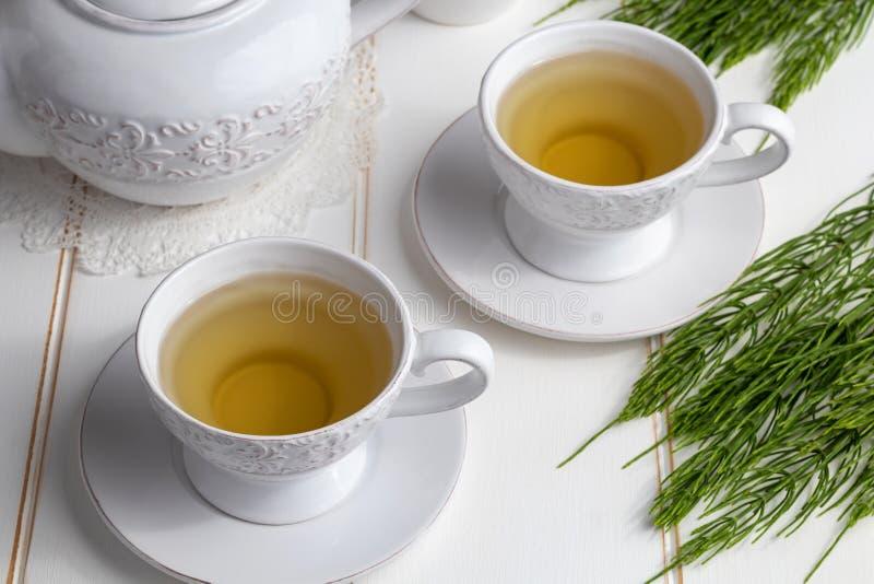 Dwa filiżanki horsetail herbata z świeżym Equisetum arvense kapują obraz royalty free