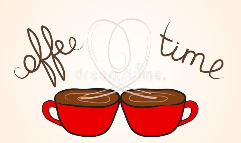 Dwa filiżanki kawy z wydźwignięciem Dekatyzują kształt serce ilustracja wektor