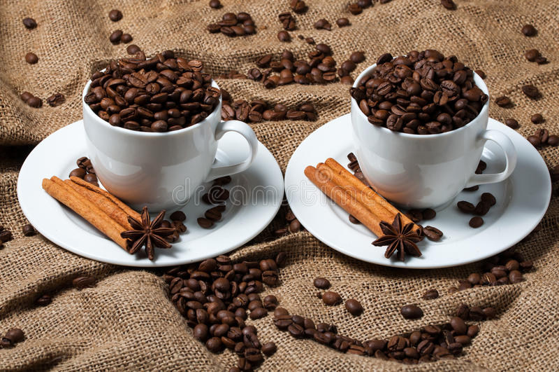 Dwa filiżanki z kawowymi fasolami, aniseed i cynamonem, zdjęcia stock