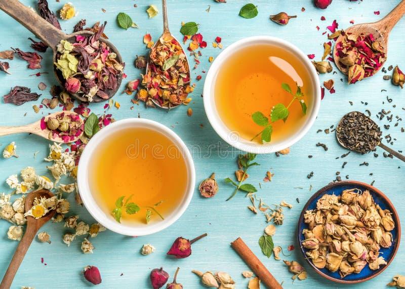 Dwa filiżanki zdrowa ziołowa herbata z mennicą, cynamonem, suszący różanym i rumiankiem, kwitną w łyżkach nad błękitnym tłem zdjęcia royalty free