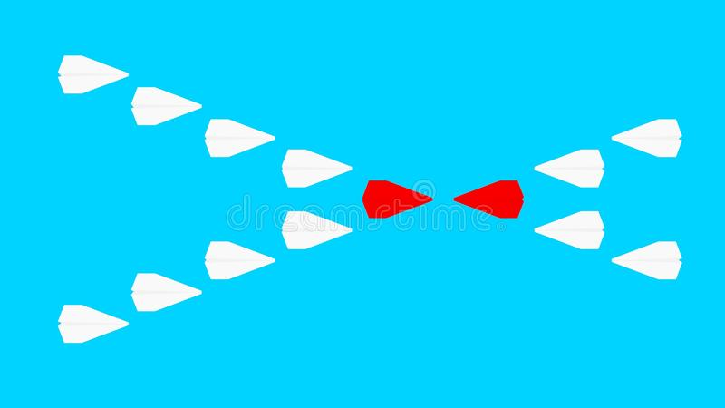 Dwa firmy współzawodniczą papierowi samoloty raster ilustracja wektor