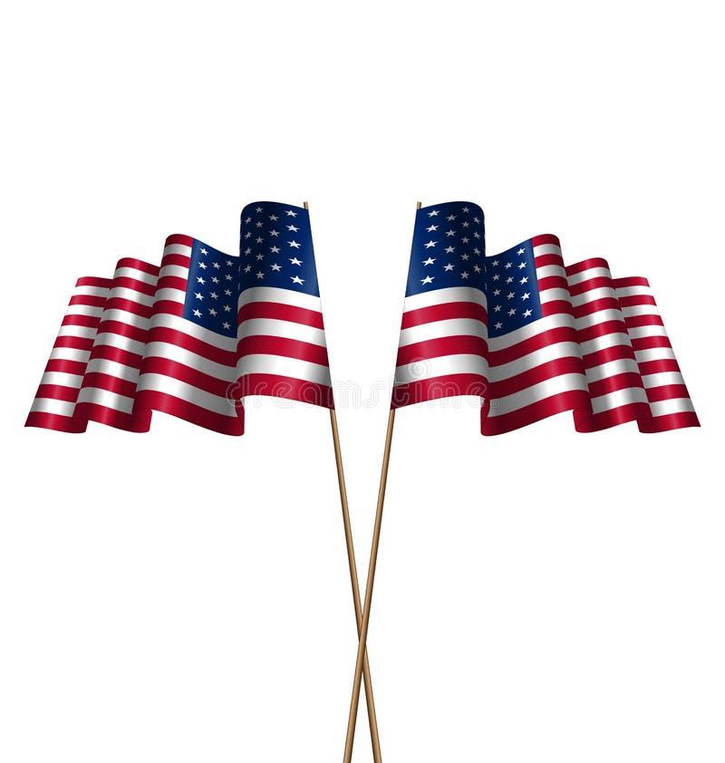 Dwa flaga usa falowania wiatr royalty ilustracja