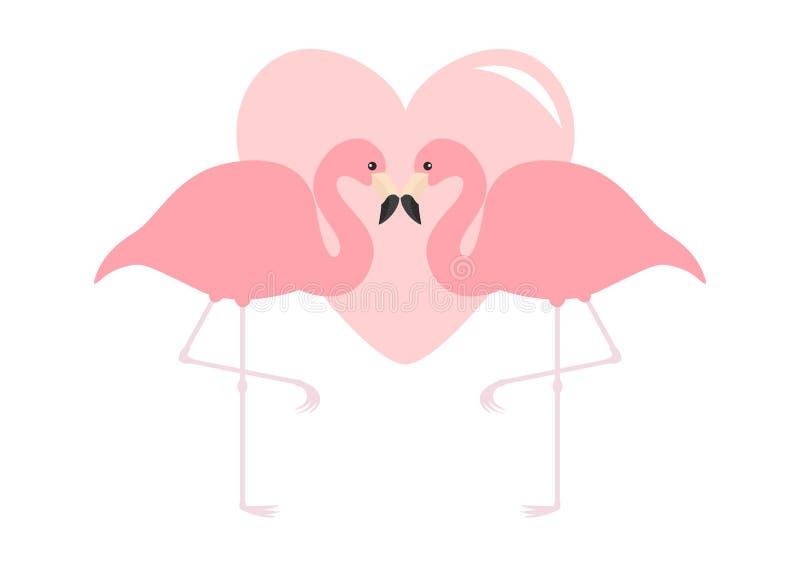 Dwa flamingów pary Duży różowy serce Egzotyczny tropikalny ptak Zoo zwierzęcia kolekcja Śliczny postać z kreskówki Kocha kartka z royalty ilustracja