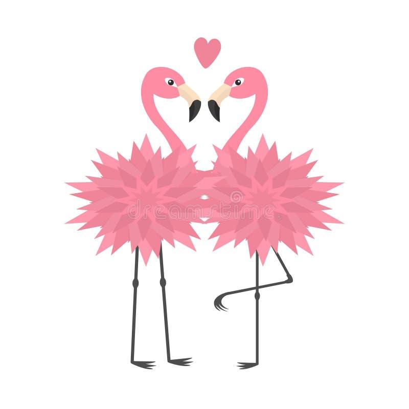 Dwa flamingów set Różowy serce Kwiatu ciało Egzotyczny tropikalny ptak Zoo zwierzęcia kolekcja Śliczny postać z kreskówki Dekorac ilustracji