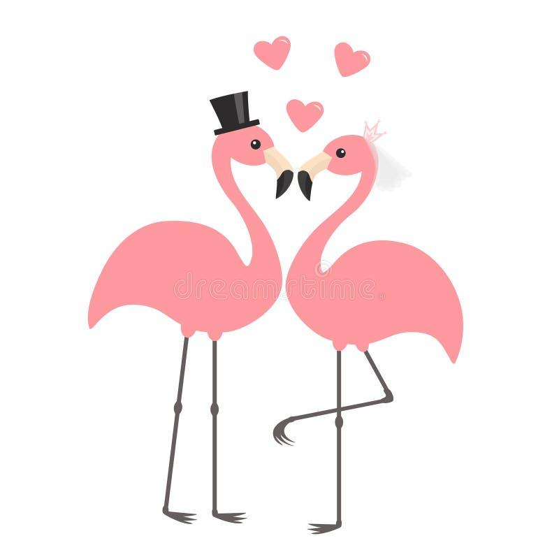 Dwa flaminga różowy set kilka apaszkę krystaliczna biżuteria zwiąż ślub pannę młodą ceremonii ślub kościelny pana młodego Czarny  royalty ilustracja