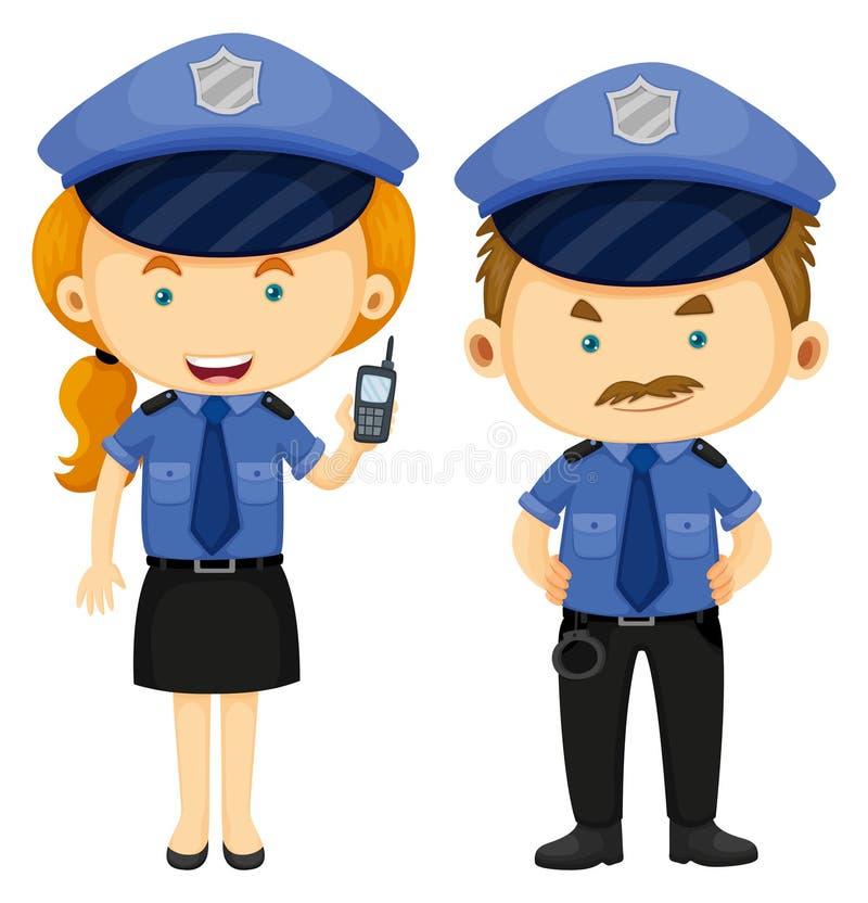 Dwa funkcjonariusza policji w błękita mundurze ilustracji