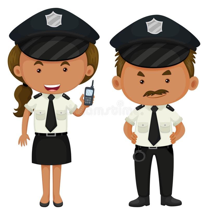 Dwa funkcjonariusza policji w czarny i biały mundurze royalty ilustracja