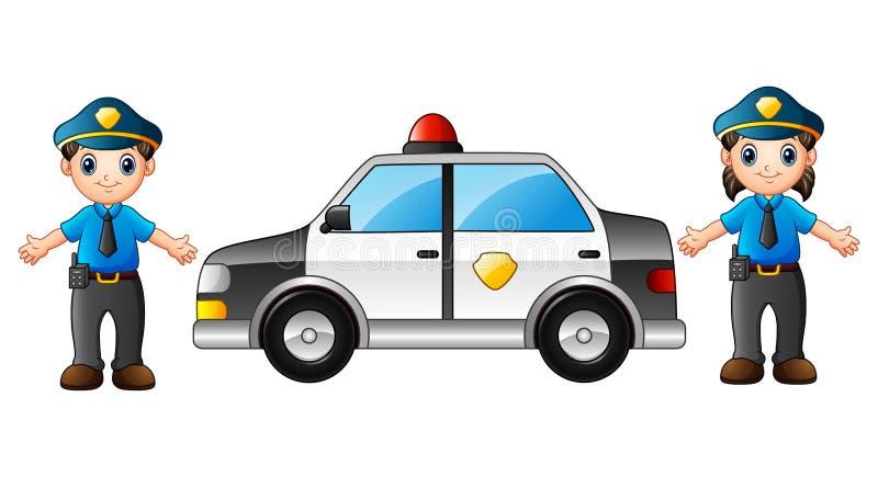 Dwa funkcjonariusza policji z samochodem policyjnym ilustracja wektor