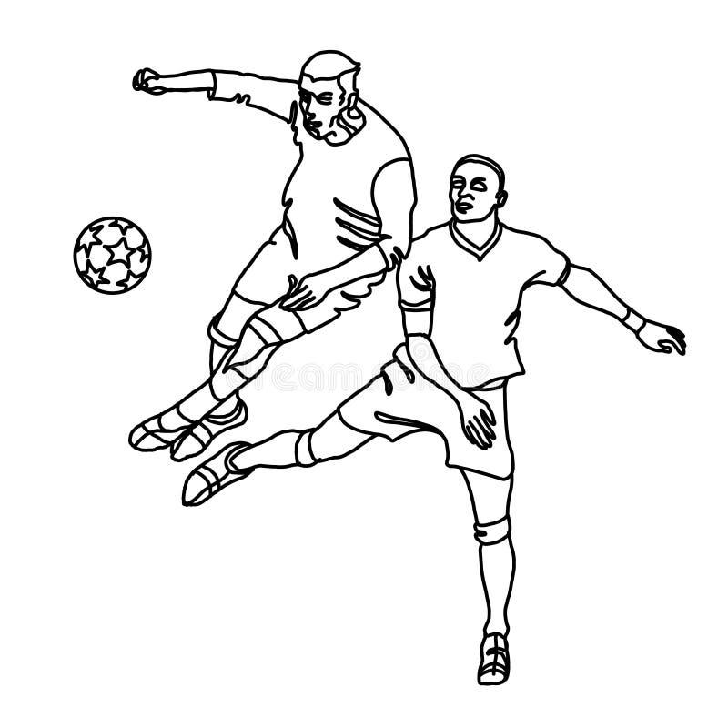 Dwa futbolisty walczą dla piłki ilustracja wektor