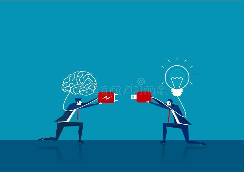 Dwa gniazda wtykowe łączące mózg i żarówkę Pojęcie wektora biznesowego ilustracja wektor
