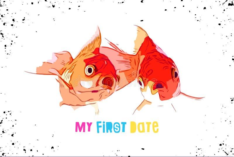 Dwa goldfish zrobił niespodzianki pojawieniu w pierwszy dopasowaniu zdjęcie royalty free