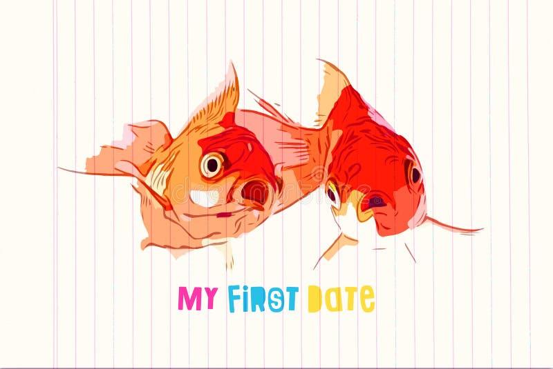 Dwa goldfish zrobił niespodzianki pojawieniu w pierwszy dopasowaniu obraz royalty free