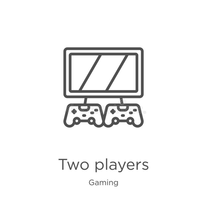 dwa graczów ikony wektor od hazard kolekcji Ciency linii dwa gracze zarysowywają ikona wektoru ilustrację Kontur, cienieje linię  ilustracja wektor