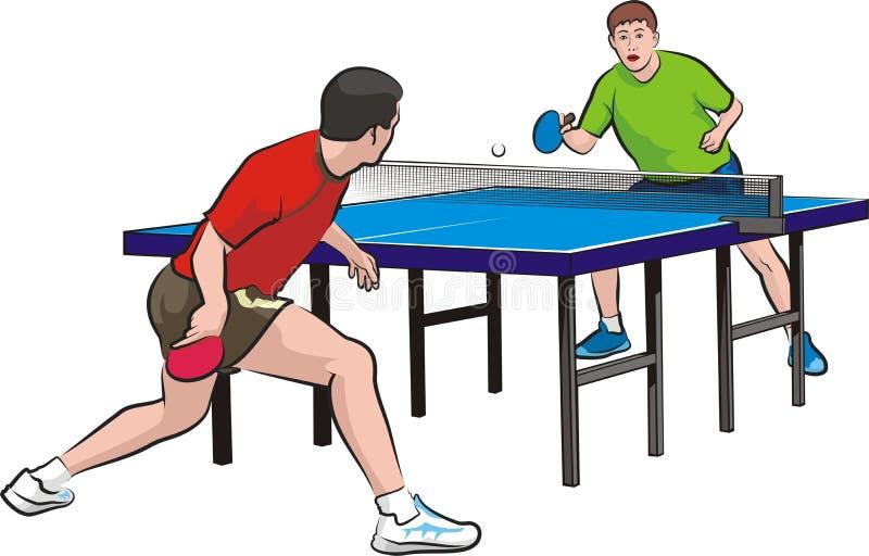 Dwa graczów sztuki stołowy tenis ilustracja wektor