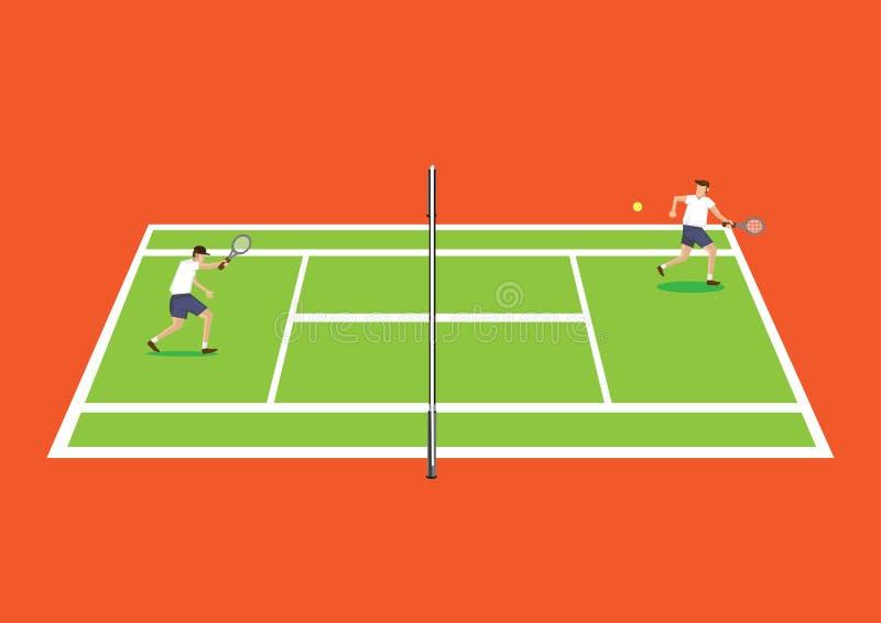 Dwa gracz w tenisa Ma grę w Tenisowego sądu kreskówki wektorze ilustracja wektor