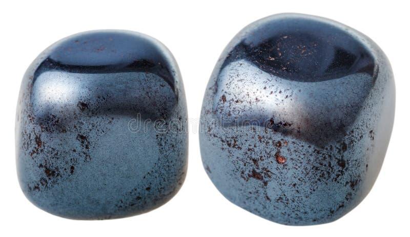 Dwa hematytu gemstones (haematite) fotografia stock