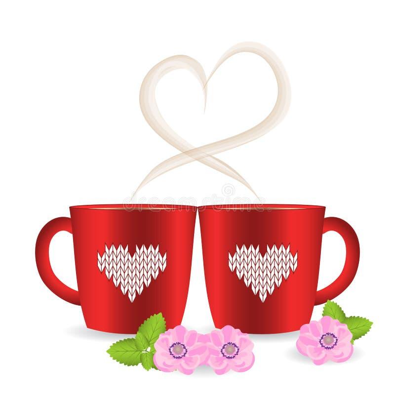 Dwa herbaciany lub filiżanki z sercem kształtowali parowego i trykotowego patte ilustracji