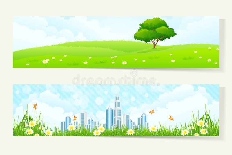 Dwa Horyzontalnego sztandaru z naturą i miastem ilustracji