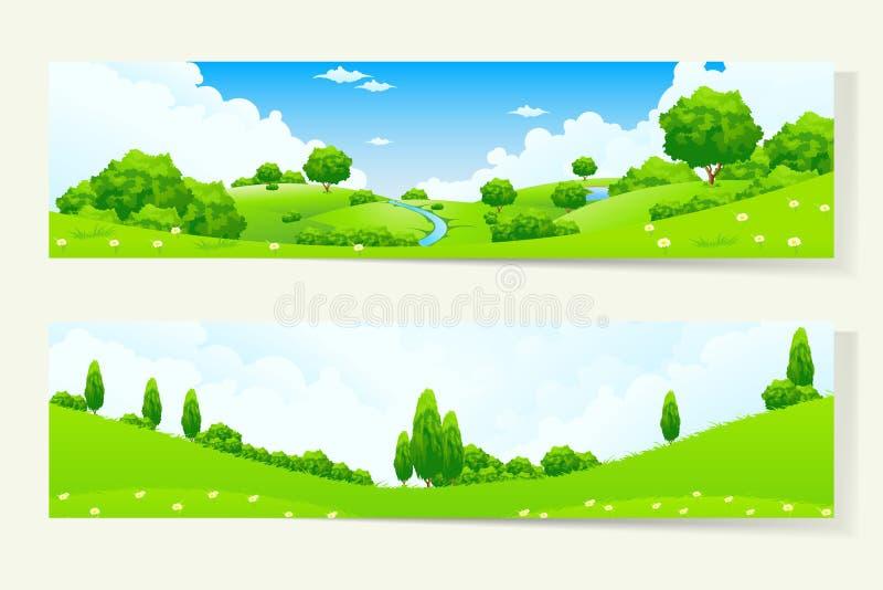 Dwa Horyzontalnego sztandaru z natura krajobrazem ilustracji