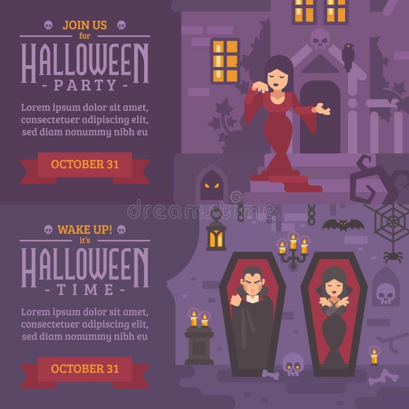 Dwa horyzontalnego wakacyjnego sztandaru z tekstem Łączy my dla Halloween royalty ilustracja