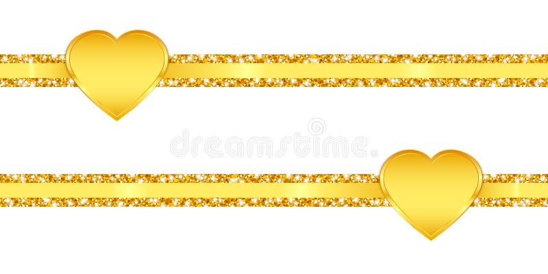 Dwa Horyzontalnych Szczupłych błyskotliwość faborków Złotego Olśniewającego serca ilustracji