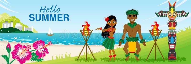 """Dwa hula tancerza tanczy w tropikalnej plaży - Zawierać słowa """"Hello lato zdjęcia royalty free"""