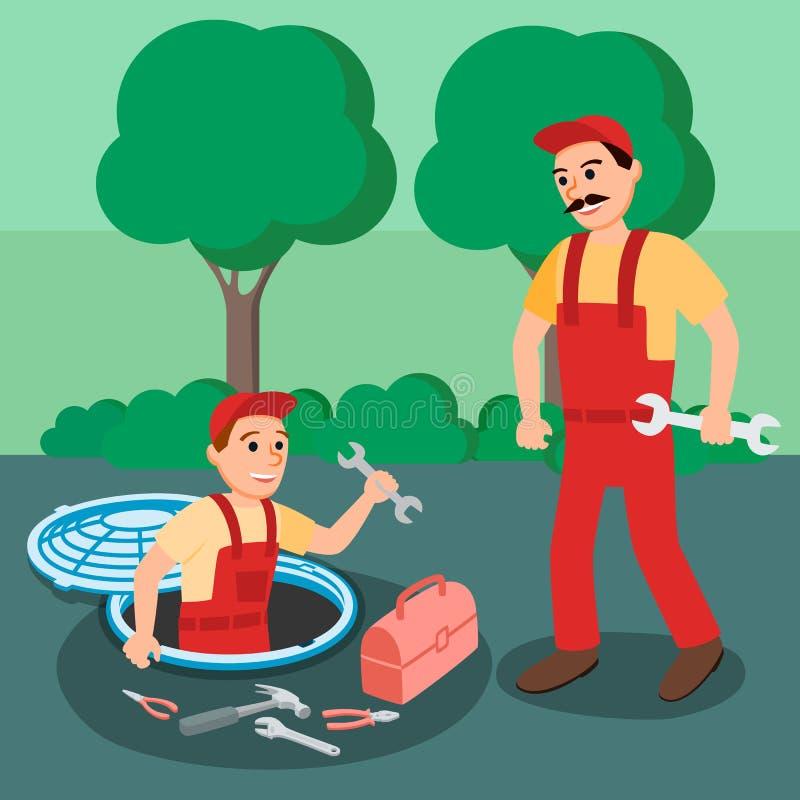 Dwa hydraulików Repairman z Spanner w Manhole ilustracja wektor