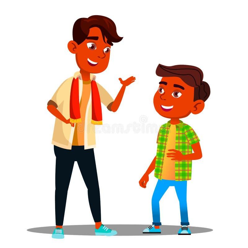 Dwa Indiańskiej chłopiec Opowiada Do Siebie wektor button ręce s push odizolowana początku ilustracyjna kobieta royalty ilustracja