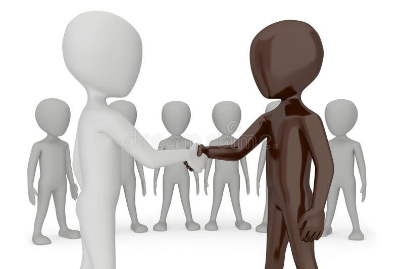 Dwa istoty ludzkiej 3d dają dla uścisk dłoni ich ręce. ilustracja wektor