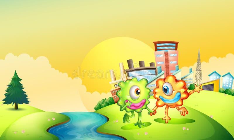 Dwa jednookiego potwora bawić się przy riverbank ilustracji