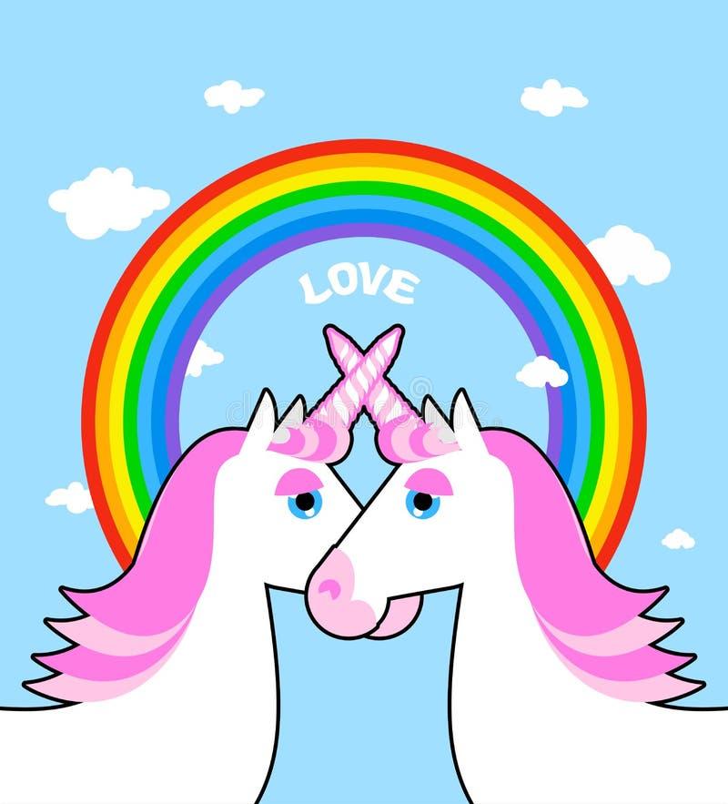 Dwa jednorożec i tęczy różowa miłość Symbol LGBT społeczność fan ilustracja wektor