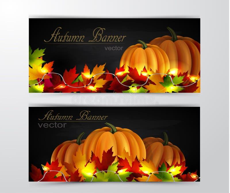 Dwa jesień sztandaru ilustracji
