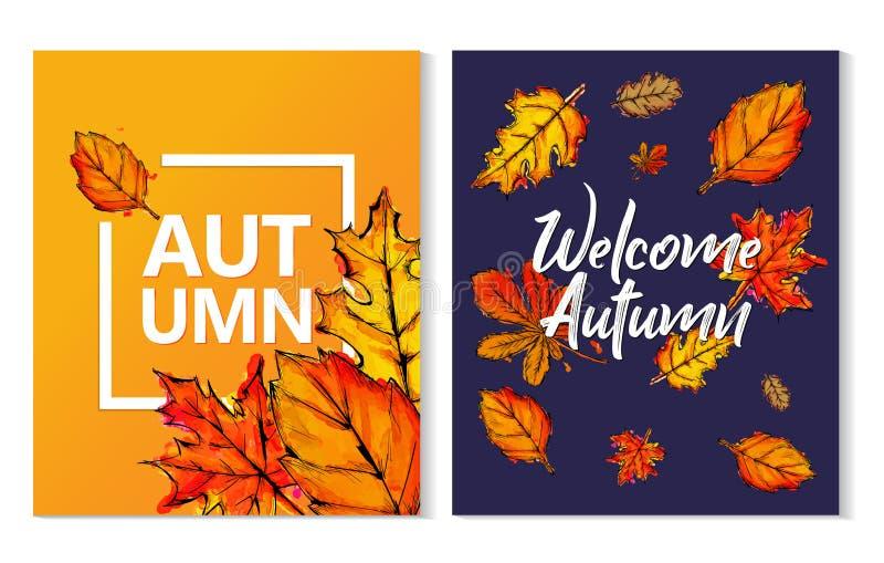 Dwa jesieni farby akwareli Typograficzny spadek Opuszcza plakat ilustracji