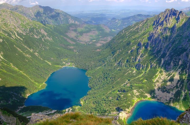Dwa jeziora w górach obraz royalty free