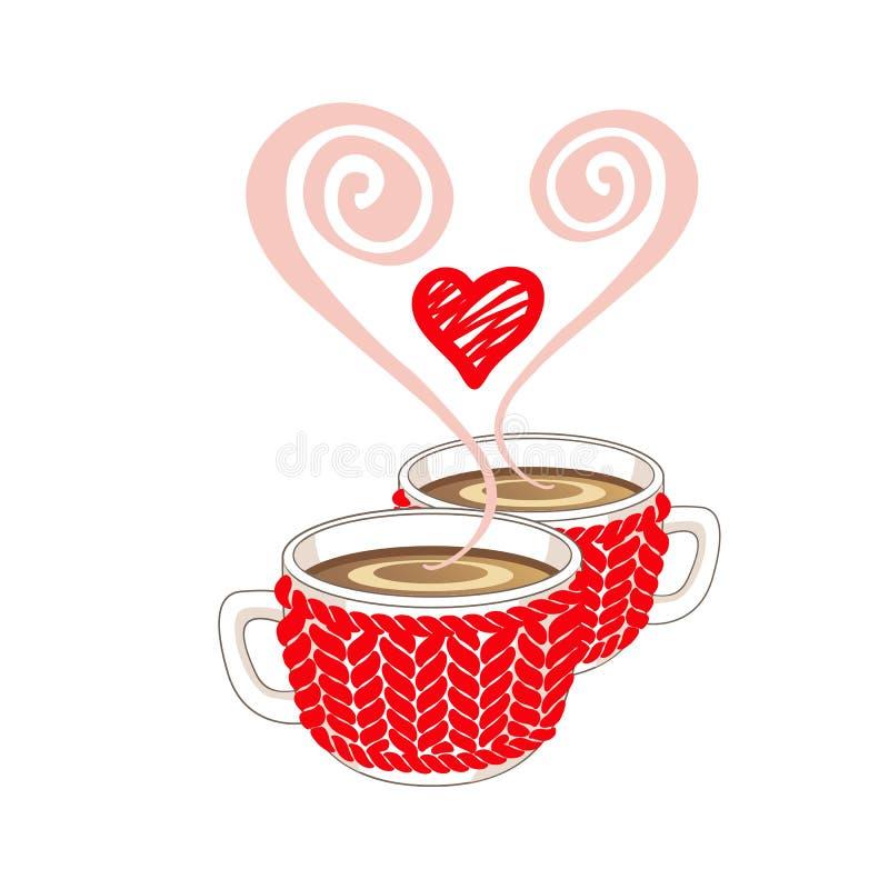 Dwa kakaowy lub filiżanki z sercem kształtowali kontrparę i czerwień dział filiżankę cosy ilustracja wektor
