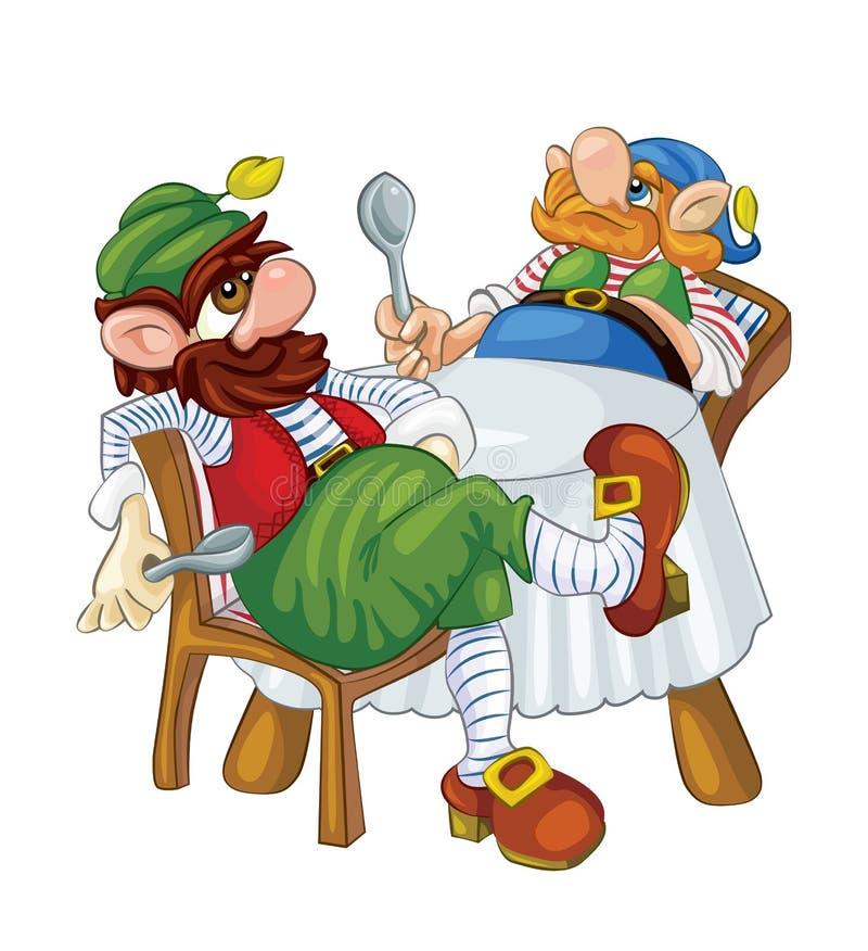 Dwa karłowaty czekanie dla gościa restauracji royalty ilustracja